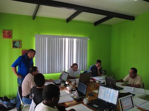 Participants at the first GIS workshop on Bonaire. A second workshop will be held April 11 -14 on Saba