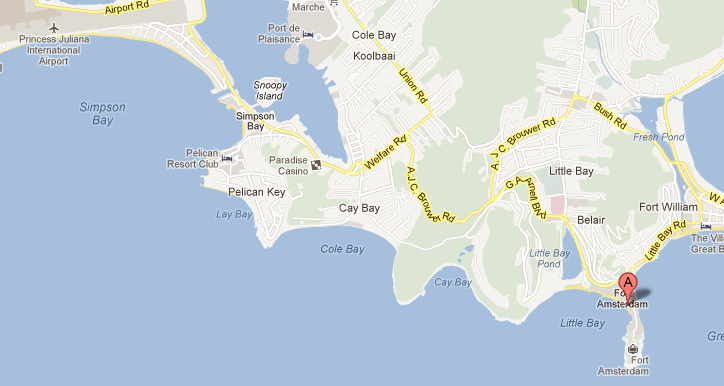 Location of Divi Little Bay Beach Resort